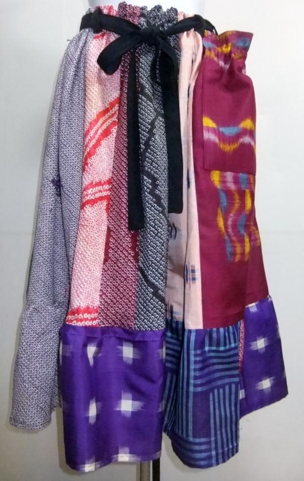 着物リメイク 銘仙と絞りの着物で作ったスカート 923