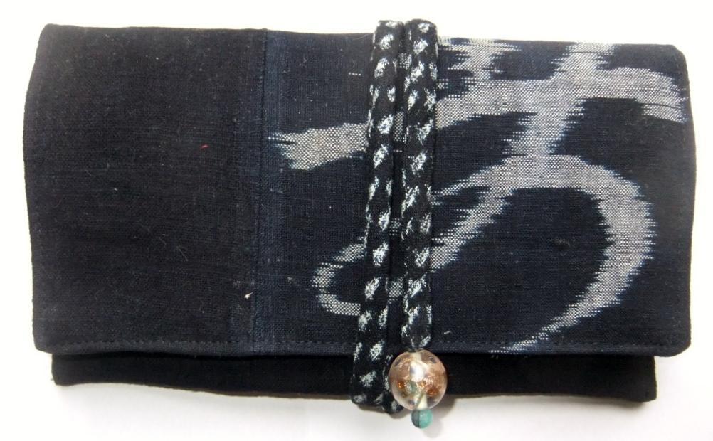 着物リメイク 筒掛けと絵絣で作った和風財布 934