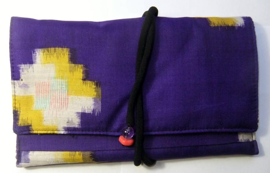 着物リメイク 銘仙の着物で作った和風財布 948