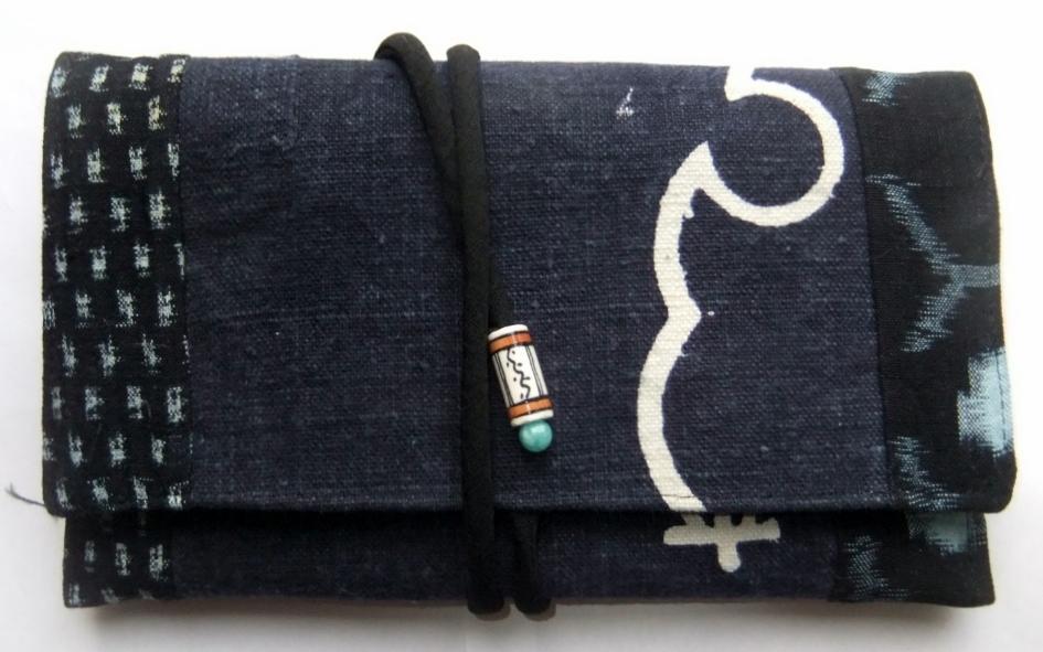 着物リメイク 絣と商店の前掛けで作った和風財布 955