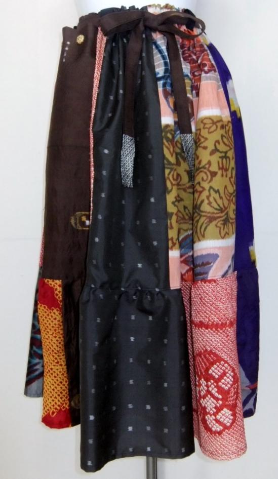 着物リメイク 銘仙と絞りの着物で作ったスカート 957