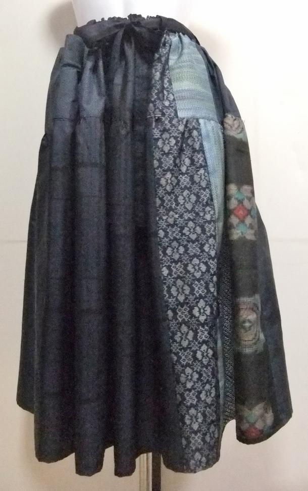 着物リメイク 藍大島で作ったスカート 960