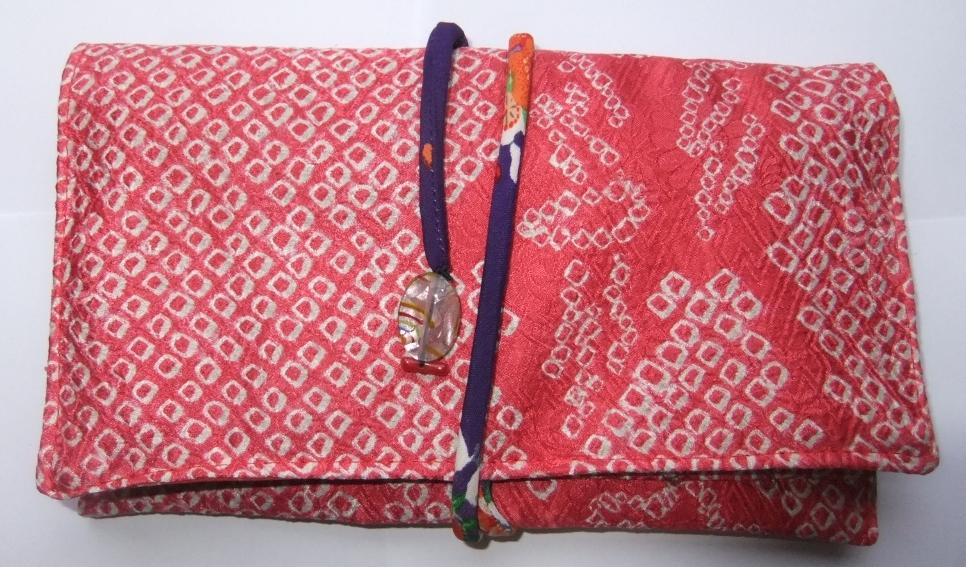着物リメイク 絞りの羽織で作った和風財布 961