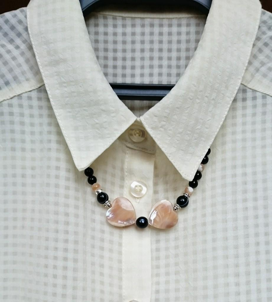 天然石やさしいハートネックレス♥マザーオブパール
