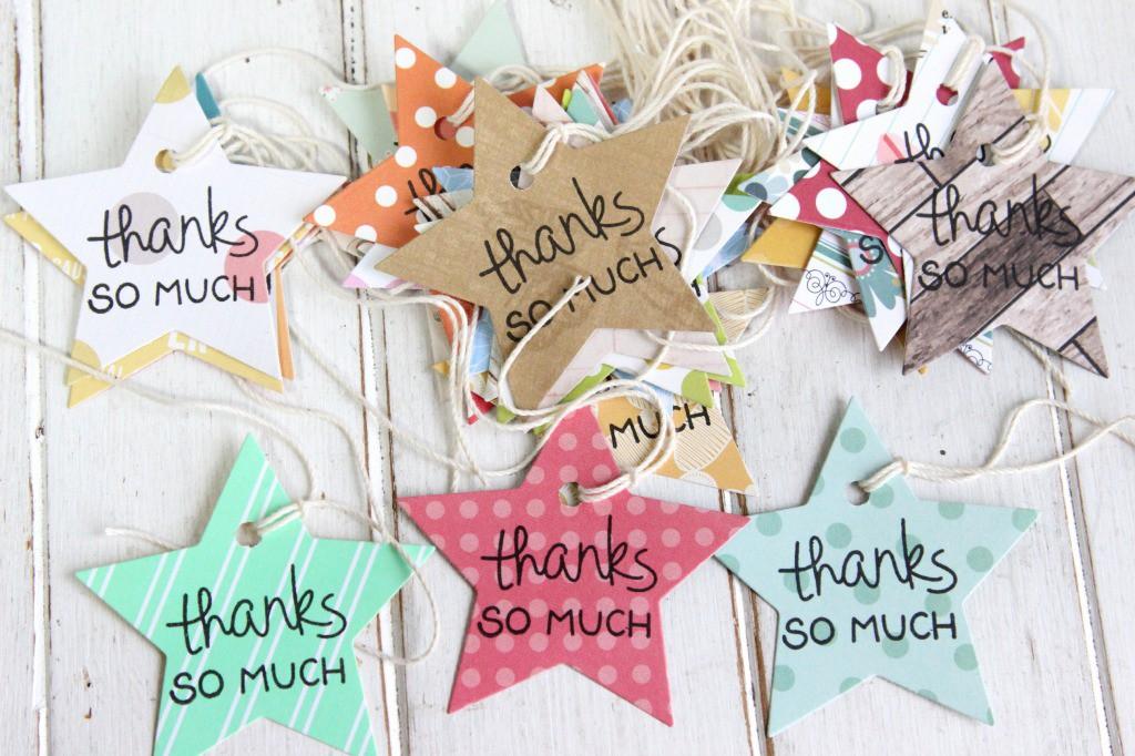 色んなペーパーで作った星のタグ「thanks SO MUCH」