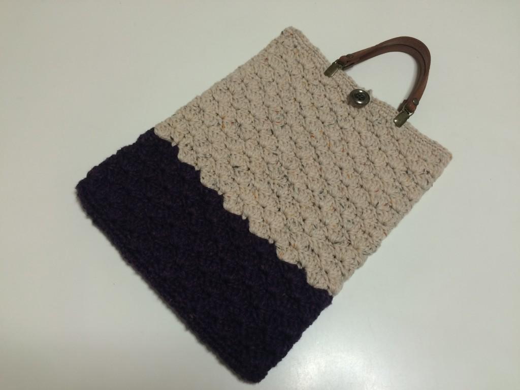 毛糸の松編みツートンバック(紫)