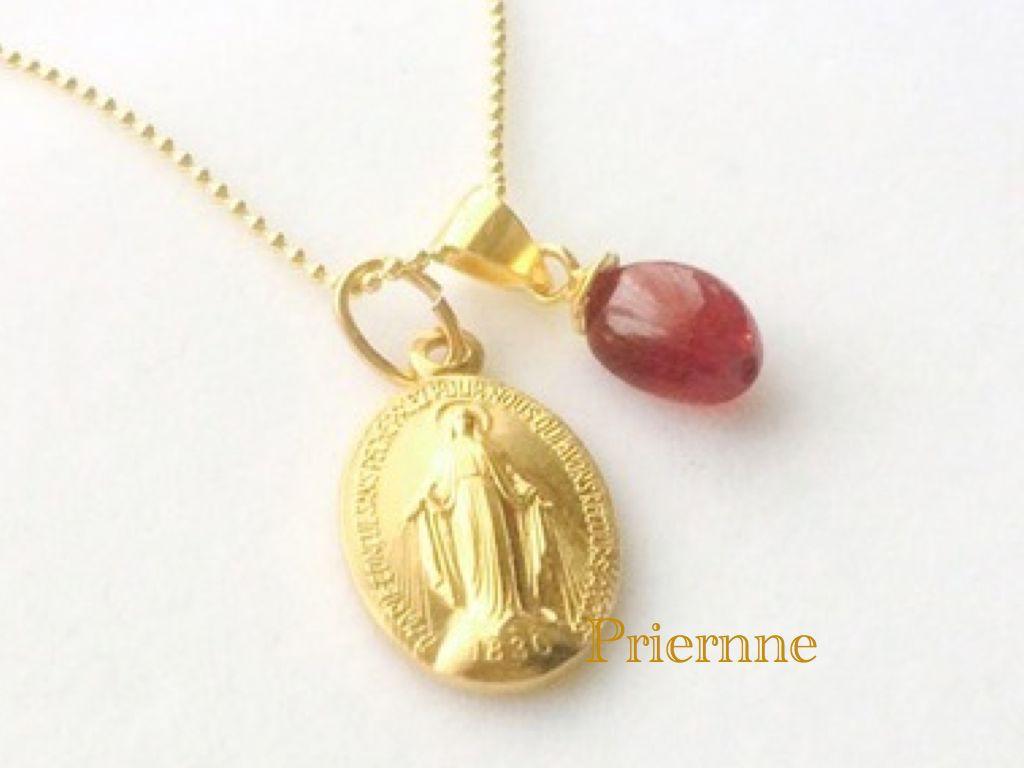 「奇跡のメダイユ」プレゼント*深紅のルビーのネックレス