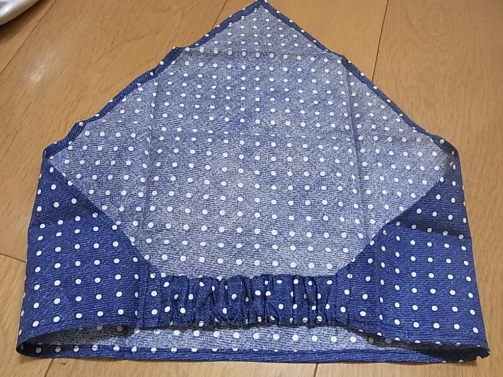 ハンドメイド  大人用三角巾 デニム調ドット柄