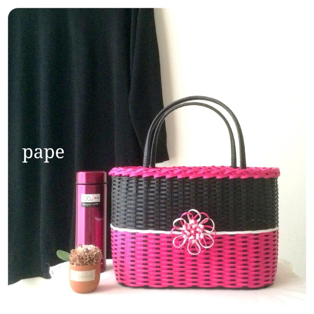 華やかなお花のカゴバッグ*ブラック&ピンク