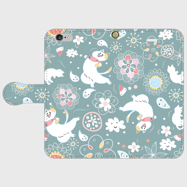 iPhone 自由なネコの手帳型スマホケース 各機 青