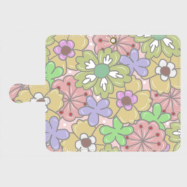 Android各機種 ポップな花柄の手帳型スマホケースピンク