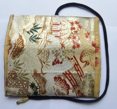 着物リメイク 帯と銘仙の着物で作った和風財布 993