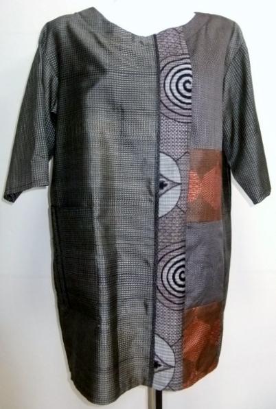 着物リメイク 大島紬で作ったプルオーバー 994