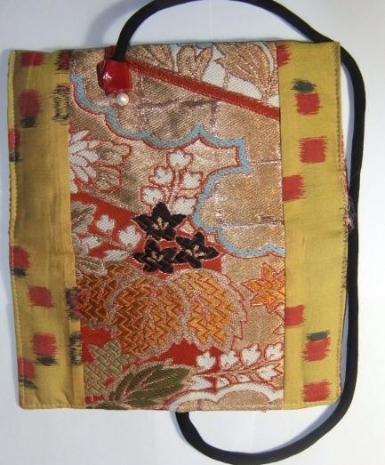 着物リメイク 帯と銘仙の着物で作った和風財布 987