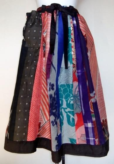 着物リメイク 銘仙と絞りの着物で作ったスカート 1001