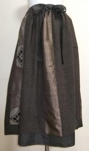 着物リメイク 大島紬と綿の着物で作ったスカート 1032