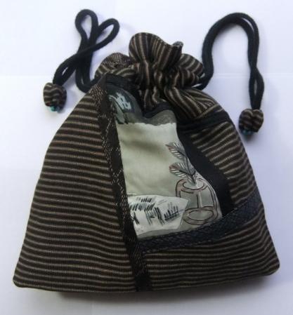 着物リメイク 縞柄の丹前で作った巾着袋 1039