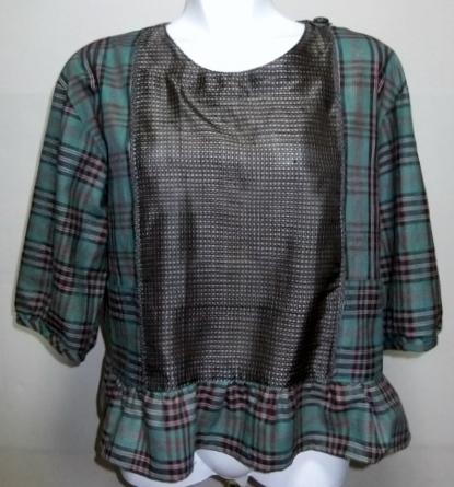 着物リメイク 大島紬と綿の着物裏地で作ったブラウス 1041