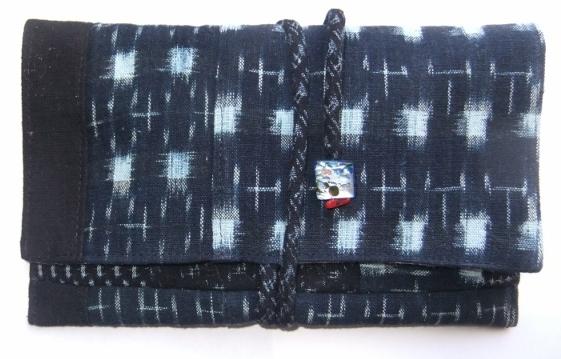 着物リメイク 絣で作った和風財布 1042