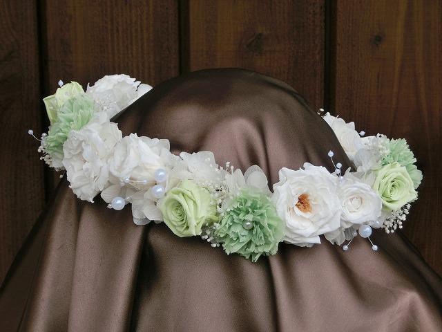 HR-45 フレッシュグリーン&ホワイトの花冠