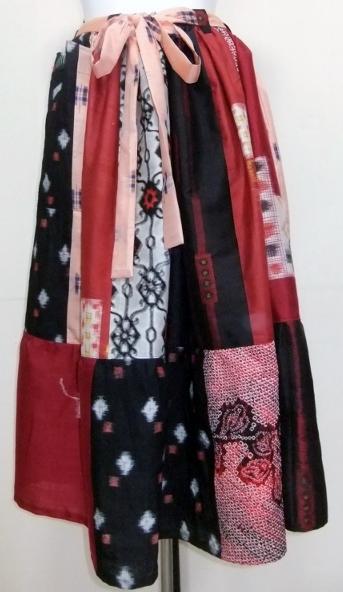 着物リメイク 銘仙と絞りで作ったスカート 1056