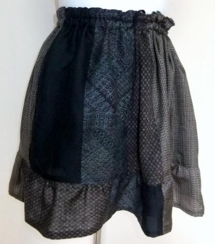 着物リメイク 大島紬で作ったミニスカート 1073