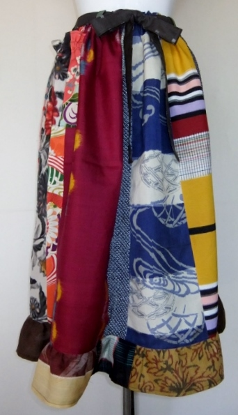 着物リメイク 銘仙と絞りの着物で作ったスカート 1077