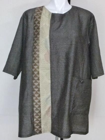 着物リメイク 大島紬で作ったプルオーバー 1081