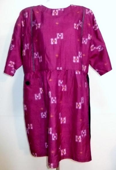 着物リメイク 銘仙の着物で作ったチュニックワンピース 1084