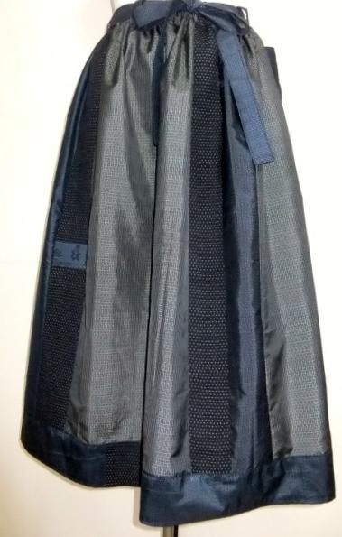 着物リメイク 藍大島で作ったスカート  1086