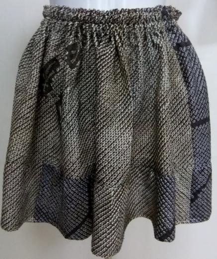 着物リメイク 絞りの羽織で作ったミニスカート 1092