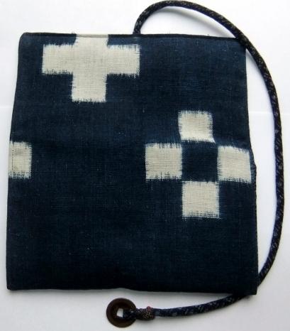 着物リメイク 久留米絣で作った和風財布 1112