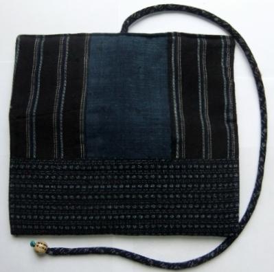 着物リメイク 藍と男絣と唐桟縞の着物で作った和風財布 1132