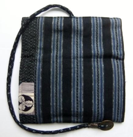 着物リメイク 男絣と唐桟縞の着物で作った和風財布 1135