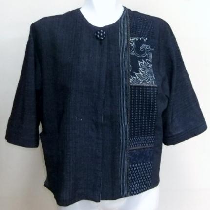 着物リメイク 縞絣で作ったジャケット 1246