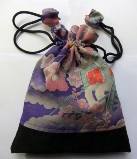 着物リメイク モスの長襦袢で作った巾着袋 1199