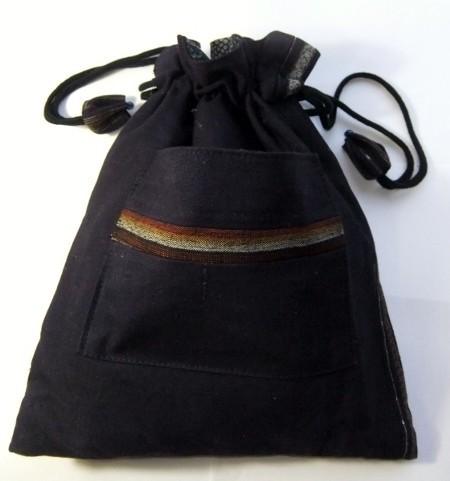 着物リメイク 絣と半纏(はんてん)で作った巾着袋 1256