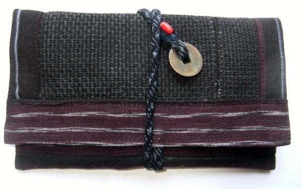 着物リメイク 消防団服と唐桟縞で作った和風財布 1311