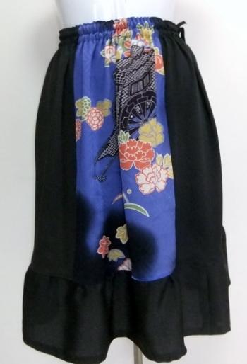 着物リメイク 色留袖と着物で作った膝下スカート 1334