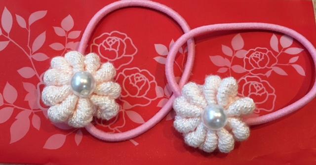 ピンクのお花のヘアーゴム