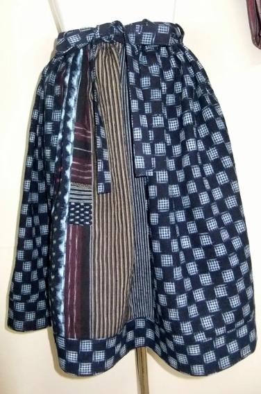 着物リメイク 絣と綿の着物で作った膝丈スカート 1401