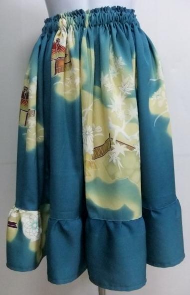 着物リメイク 訪問着で作った膝丈スカート 1469