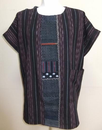 着物リメイク 縞絣の着物で作ったプルオーバー 1500