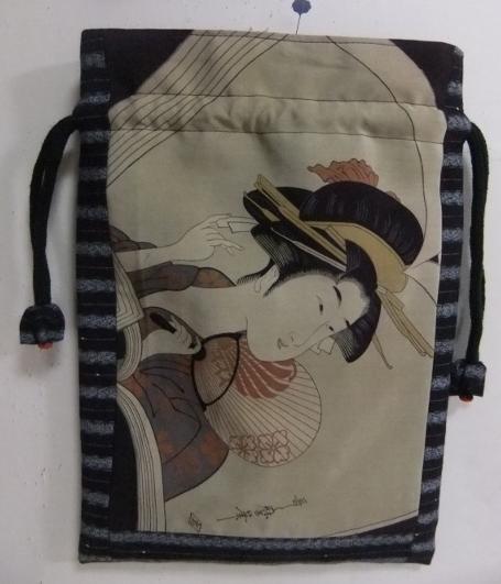 着物リメイク 羽織裏と唐桟縞の着物で作った巾着袋 1522