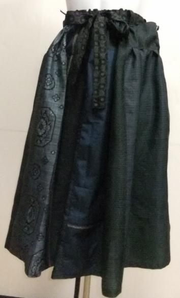 着物リメイク 藍大島などで作ったスカート 1527