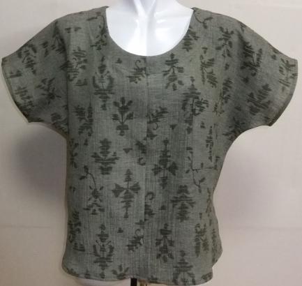 着物リメイク 綿の縮緬の着物で作ったTシャツ 1530