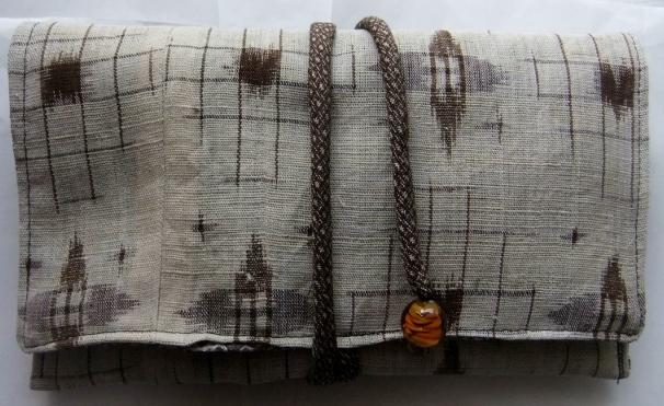 着物リメイク 麻の着物で作った和風財布 1555