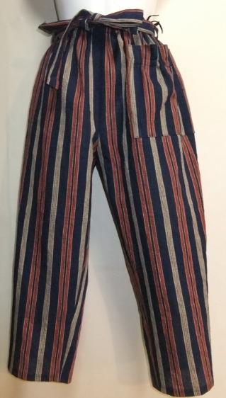 着物リメイク 綿の着物で作ったサブリナパンツ 1578