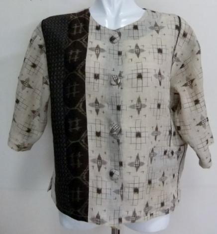 着物リメイク 麻の着物で作ったジャケット 1590