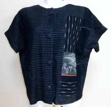着物リメイク 男絣で作った半袖ジャケット 別1615